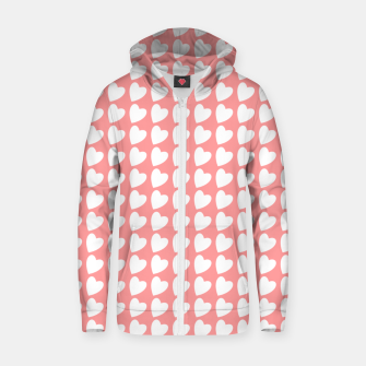 Thumbnail image of Heart Pattern on Coral Zip up hoodie, Live Heroes