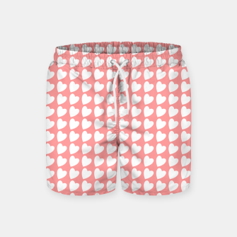 Thumbnail image of Heart Pattern on Coral Swim Shorts, Live Heroes