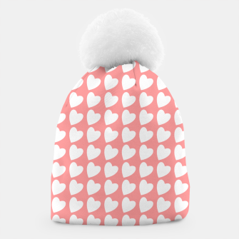 Thumbnail image of Heart Pattern on Coral Beanie, Live Heroes