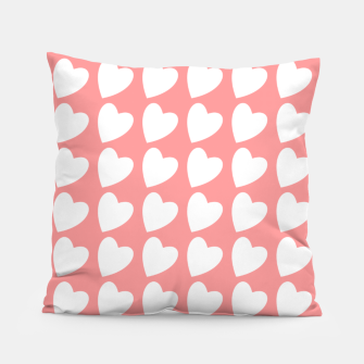 Thumbnail image of Heart Pattern on Coral Pillow, Live Heroes
