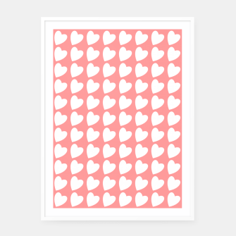 Thumbnail image of Heart Pattern on Coral Framed poster, Live Heroes