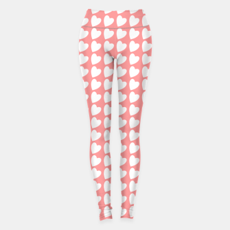 Thumbnail image of Heart Pattern on Coral Leggings, Live Heroes