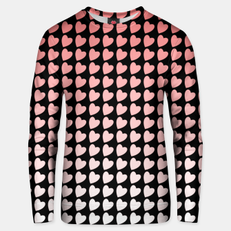 Thumbnail image of Heart Gradient Pattern in Coral and Black Unisex sweater, Live Heroes