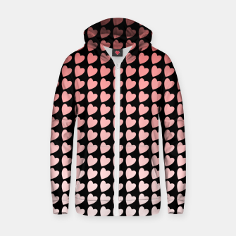 Thumbnail image of Heart Gradient Pattern in Coral and Black Zip up hoodie, Live Heroes