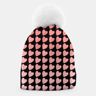 Thumbnail image of Heart Gradient Pattern in Coral and Black Beanie, Live Heroes