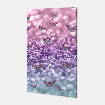 Thumbnail image of Pastel Unicorn Butterfly Glitter Dream #3 #shiny #decor #art Canvas, Live Heroes