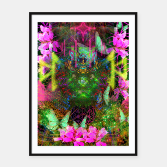 Thumbnail image of Renewed Life (geranium flowers, pink, visionary) Framed poster, Live Heroes