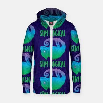 Miniatur Stay Magical Levitating Chameleon Zip up hoodie, Live Heroes