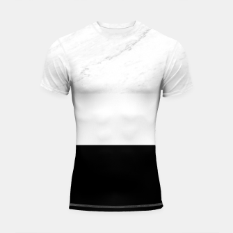 Thumbnail image of Stripes marble black white Shortsleeve rashguard, Live Heroes