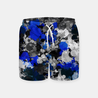 Thumbnail image of Blue and Grey Paint Splatter Swim Shorts, Live Heroes