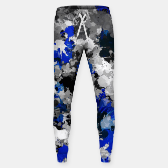 Thumbnail image of Blue and Grey Paint Splatter Sweatpants, Live Heroes