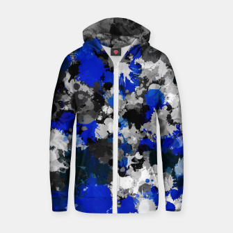 Thumbnail image of Blue and Grey Paint Splatter Hoodie, Live Heroes