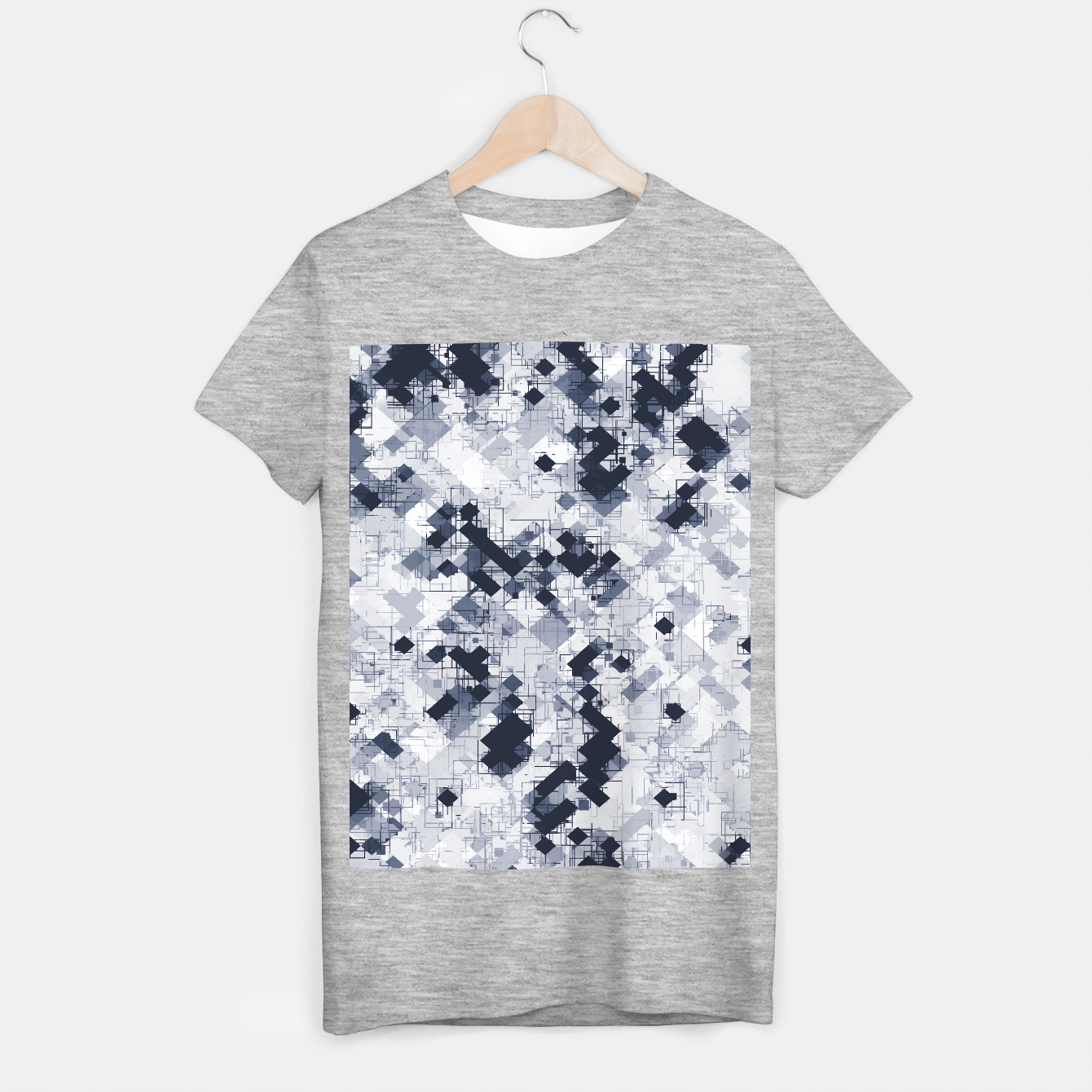 Image de geometric pixel pattern abstract in black and white T-shirt regular - Live Heroes