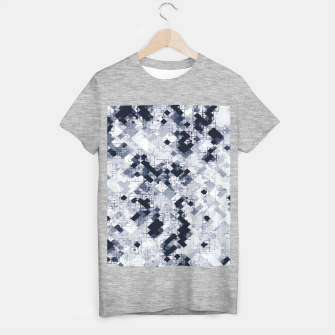 geometric pixel pattern abstract in black and white T-shirt regular miniature