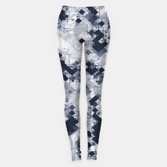 geometric pixel pattern abstract in black and white Leggings miniature