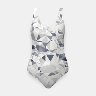 geometric triangle pattern abstract in black and white Swimsuit miniature