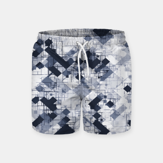 geometric pixel pattern abstract in black and white Swim Shorts miniature