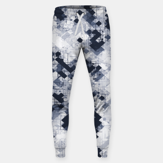 geometric pixel pattern abstract in black and white Sweatpants miniature