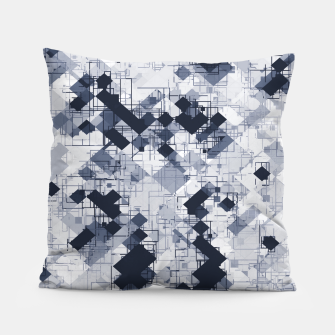geometric pixel pattern abstract in black and white Pillow miniature