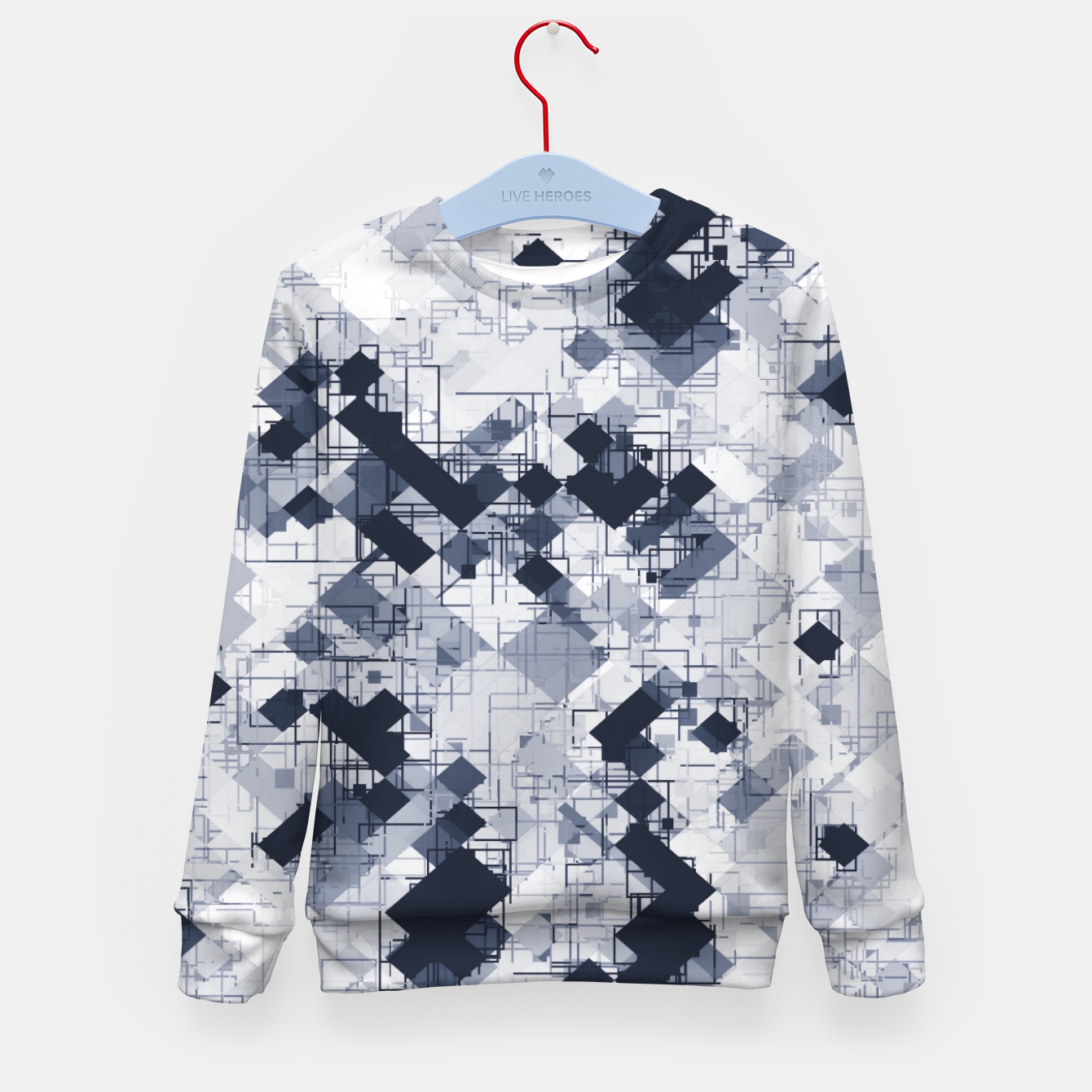 Image de geometric pixel pattern abstract in black and white Kid's sweater - Live Heroes