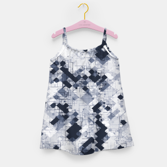 geometric pixel pattern abstract in black and white Girl's dress miniature