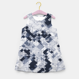 geometric pixel pattern abstract in black and white Girl's summer dress miniature