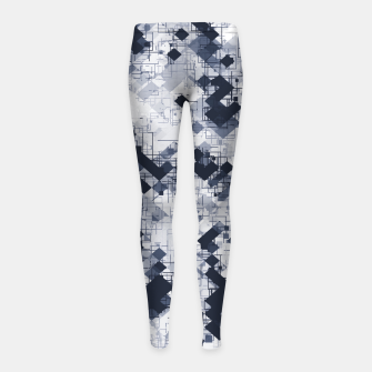 geometric pixel pattern abstract in black and white Girl's leggings miniature
