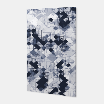 geometric pixel pattern abstract in black and white Canvas miniature