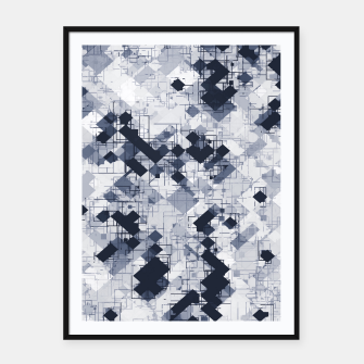 geometric pixel pattern abstract in black and white Framed poster miniature