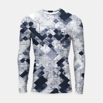 geometric pixel pattern abstract in black and white Longsleeve rashguard  miniature