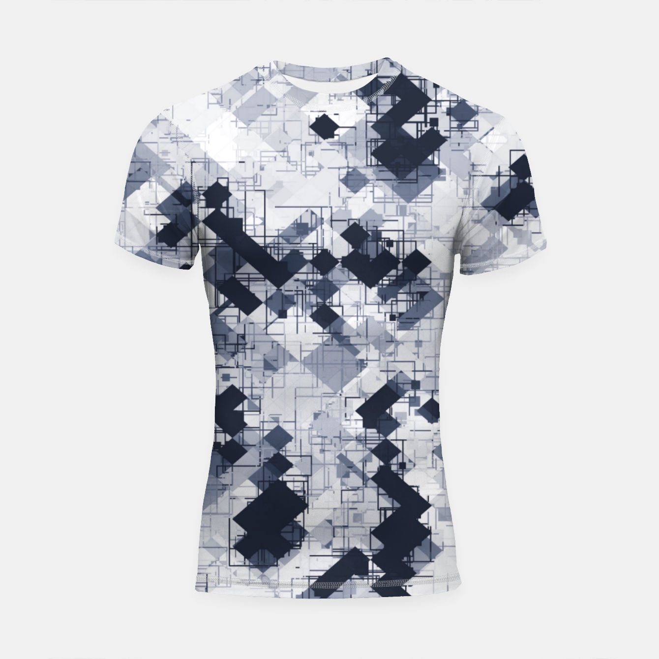 Image de geometric pixel pattern abstract in black and white Shortsleeve rashguard - Live Heroes