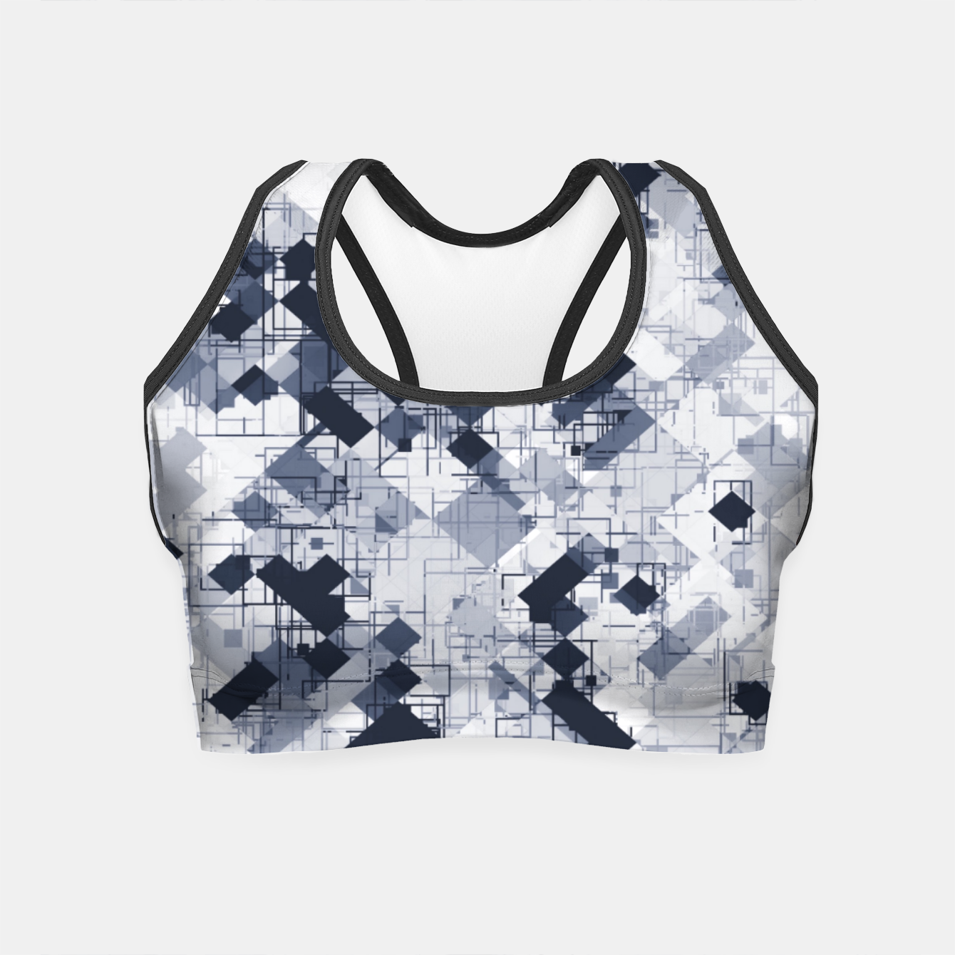 Image de geometric pixel pattern abstract in black and white Crop Top - Live Heroes