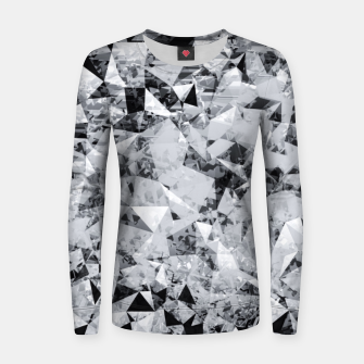 Thumbnail image of geometric triangle pattern abstract background in black and white Women sweater, Live Heroes