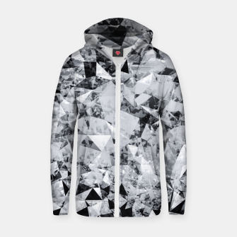 Thumbnail image of geometric triangle pattern abstract background in black and white Zip up hoodie, Live Heroes