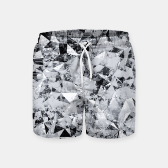 Thumbnail image of geometric triangle pattern abstract background in black and white Swim Shorts, Live Heroes