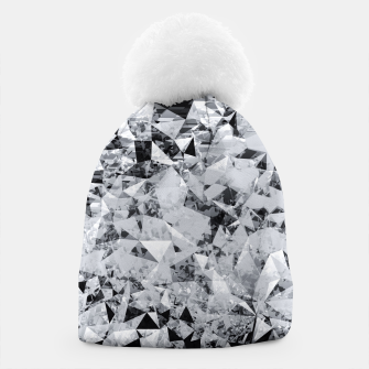 Thumbnail image of geometric triangle pattern abstract background in black and white Beanie, Live Heroes