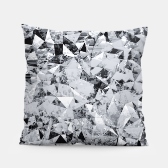 Miniatur geometric triangle pattern abstract background in black and white Pillow, Live Heroes