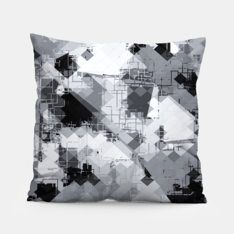Thumbnail image of geometric square pixel pattern abstract background in black and white Pillow, Live Heroes