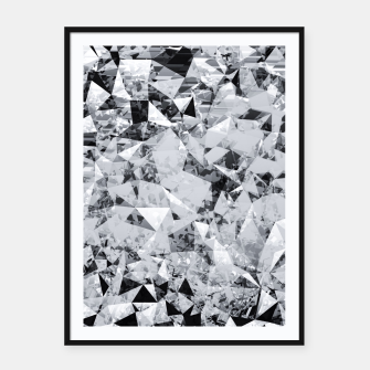 Thumbnail image of geometric triangle pattern abstract background in black and white Framed poster, Live Heroes