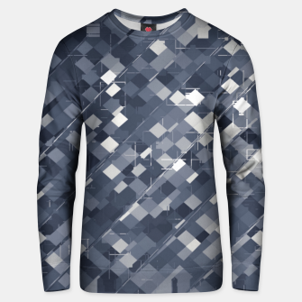 Miniatur geometric square pixel pattern abstract background in black and white Unisex sweater, Live Heroes