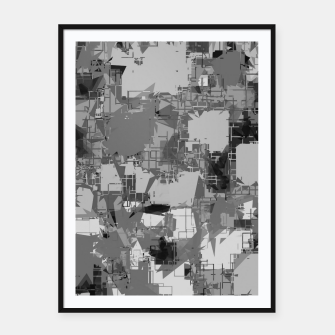 Thumbnail image of splash geometric abstract in black and white Framed poster, Live Heroes
