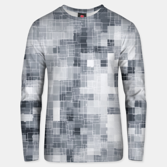 Miniatur geometric square pixel pattern abstract in black and white Unisex sweater, Live Heroes