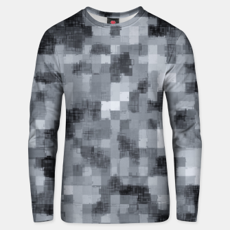 Miniatur geometric square pattern abstract background in black and white Unisex sweater, Live Heroes