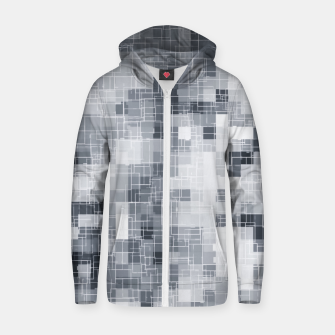 Thumbnail image of geometric square pixel pattern abstract in black and white Zip up hoodie, Live Heroes