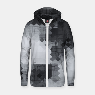 Thumbnail image of geometric square pixel pattern abstract background in black and white Zip up hoodie, Live Heroes