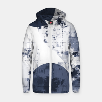 Thumbnail image of geometric circle pattern abstract background in black and white Zip up hoodie, Live Heroes