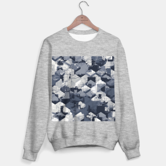 Thumbnail image of geometric square pattern abstract in black and white Sweater regular, Live Heroes
