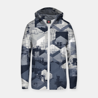 Thumbnail image of geometric square pattern abstract in black and white Zip up hoodie, Live Heroes