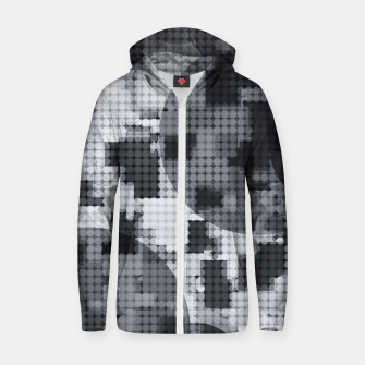 Thumbnail image of geometric circle pattern abstract in black and white Zip up hoodie, Live Heroes