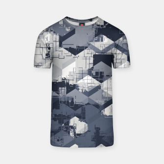 Thumbnail image of geometric square pattern abstract in black and white T-shirt, Live Heroes